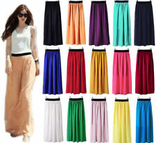 Women Colourful Double Layer Chiffon Pleated Long Maxi Dress Elastic Waist Skirt