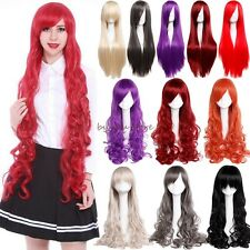 Newest Full Hair Wigs Long Curly Straight Cosplay Costume Party Fancy Dress Pink