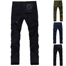 Fashion Mens Designed Straight Slim Fit Cotton Trousers Casual Skinny Pants New