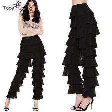 Plus Size Women High Waist Pleated Wide Leg Loose Chiffon Pants Flared Trousers