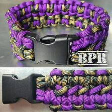 Purple/CamoDog Collar 550 Paracord Double Cobra Weave Dog Collar