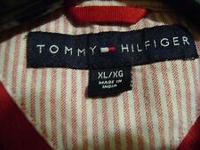 TOMMY HILFIGER POLO SHIRT MENS  RED/GRAY STRIPED SHORT SLEEVE XL NICE