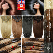 Extra Thick Double Weft Clip In 100%Remy Human Hair Extensions Full Head UK U583