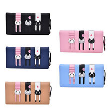 Lovely Cat Lady Women PU Leather Clutch Wallet Long PU Card Holder Purse Bag abc