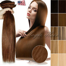 Extra Thick 250G+ Clip in Remy Human Hair Extensions Full Head Black Brown SU399