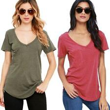 Sexy Women Casual Cotton Short Sleeve Loose Basic Solid Top Blouse Tee T-shirt