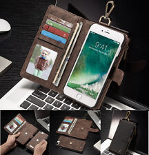 Leather Removable Magnetic Zipper Wallet Card Case Flip Cover For iPhone 7 Plus