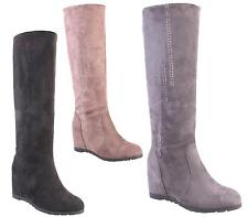 WOMENS LADIES PULL ON CONCEALED WEDGE HEEL WEDGES WINTER LONG KNEE HIGH BOOTS