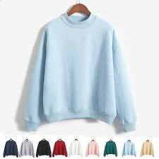 Winter Autumn Womens Sweatshirts Sweater Soild Thick Long Sleeve Hoodie Pullover