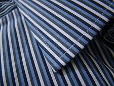 Nat Thomas Pink Blue White Canal Stripe Slim Fit French Cuff Dress Shirt