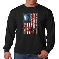 Patriotic Long Sleeve Shirt Vertical American Flag USA Pride July 4th