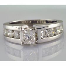 VS1 Princess Cut and Round Shape Engagement Ring 2.04 Carat Diamond Channel Set