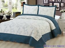 Bedding 3 Piece Bedspread Bed Quilt Set / Embroidered / 2 Pillow Sham, Turquoise