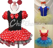 Girls Kid Minnie Mouse Mermaid Fancy Tutu Dress Up Costume Cosplay Outfit + Ears