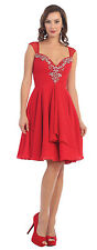 Short Homecoming Dresses Formal Cap Sleeve Plus Size Chiffon Cocktail Party Dres