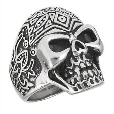Cool Stainless Steel Fancy Patterned SKULL Biker Gothic Ring Jewelry Size 8-15