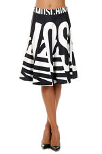 MOSCHINO COUTURE New woman black White flared Silk Skirt Made in Italy NWT