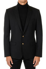 DOLCE&GABBANA New Men Black Wool Silk Single Breasted Blazer Made in Italy NWT