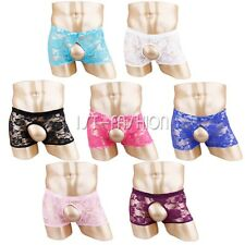 Sexy Men Underwear Sheer Lace Semi-See Through Shorts Boxer Briefs Trunks Bikini