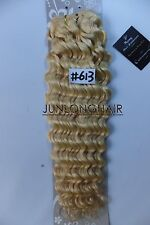 100g No Clips Deep Hair Weft Curly Weaving 100%Real Human Hair Extensions Blonde
