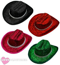6 X MINI TINSEL COWBOY HAT WILD WESTERN COWGIRL HEN PARTY HOLIDAY CHOOSE COLOUR