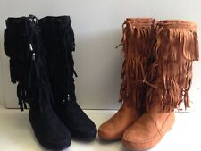 Womens Suede Tassel Fringe Moccasin Boots Flat Layer Mid Calf In Blk or Camel