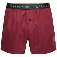 Tommy Hilfiger Mens Prep Embroidery Traditional Loose Woven Boxer Short, Rhubarb