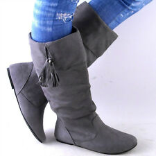 NEW WOMENS GRAY MIDCALF TASSLED SLOUCH BOOTS