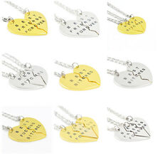 Best Bitches Friends BFF Broken Heart Necklace Pendant Chain Gold Silver Plated