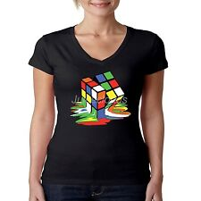 Cool V-Neck Shirt Melting Rubik Cube 3D Big Bang Theory Rubiks JUNIORS