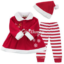 Baby Girls Mrs.Santa Dress And Leggings Outfit Christmas Dress Up 9-24 Months
