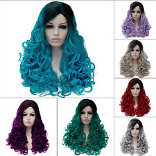 Fashion Gradient Wig 60cm Lolita Cosplay Hair Heat Resistant Fiber Women Curly