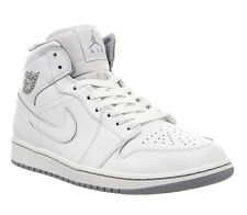 Jordan AIR JORDAN 1 MID Mens White/White-Wolf Grey Classic Sneakers Shoes