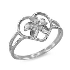 Fine Sterling Silver Plumeria Flower Heart Shape Ring