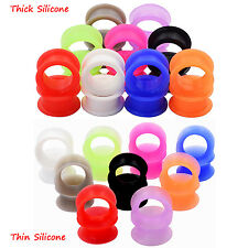 ON SALE! LOT1/18pair Silicone Ear Gauges Tunnel Ear Plugs Double Flared Piercing