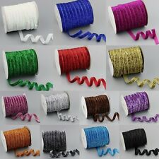 "5/30/200Yards 3/8""10mm Sparkle Glitter Velvet Ribbon Headband Clips Bows DIY J"