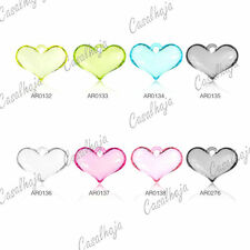 8pcs Acrylic Love Flat Heart Beads Charms Jewelry Findings 20x29mm  6 Colours