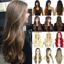 UK Full Hair Wigs Long Straight Curly Cosplay Costume Party Fancy Dress Rose Cap