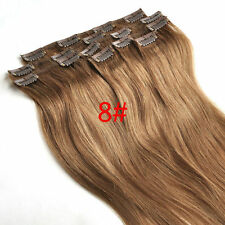 105g 16''~24'' Clip In Real Human Hair Ash Brown Remy Hair Clip Extensions 8pcs
