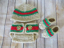 LITTLE MAN NEWBORN crochet hat diaper cover booties, shower gift, TAN, props set