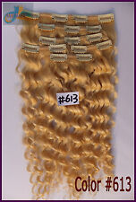 Bleach Blonde Curly Wavy Clip In 100%Real Human Hair Extension Deep Weaving 160g