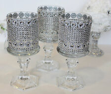 10 Set Tealight Tall Crystal Glass Candle Holder Wedding Bling Centerpiece
