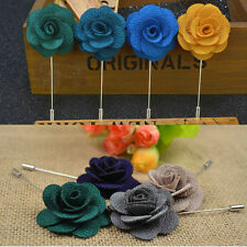 9 Colors Men's Lapel Pins Brooch For Wedding Suits Fabric Flower Pop Brooch 1pcs