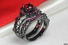 Pink Sapphire Nickel Free Black Rhodium Fairy Tale Engagement Bridal Ring Set