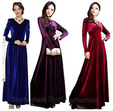 Sexy Womens V Neck shimmer Velvet Long Sleeve Dress Evening Cocktail Party Gown