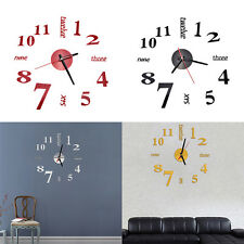 Modern Art DIY Large Wall Clock 3D Sticker Design Home Office Room Decor  SH