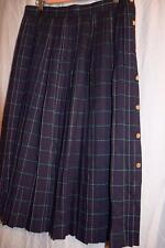 Hobnobber VINTAGE Navy+Green WOOL PLAID - Pleated Skirt w/ Anchor Buttons 11-12