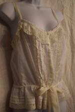 HOLLISTER - size M - BOHEMIAN off White Lace & ruffle TRIMMED Cami Tank top