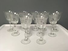 FOSTORIA Etched Crystal Stemware Set of 11 Navarre Claret Wine Glasses 6 3/8""