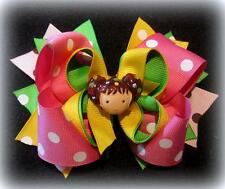 Little Girl Dot Bright Boutique Hair Bow 3 layers of Loops Spikes Funky Hairbows